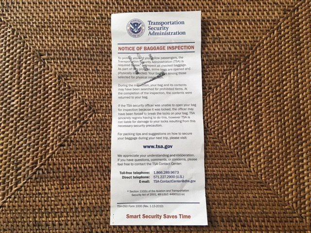 TSAの荷物検査をした紙